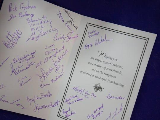 Gym members signed a Thanksgiving card for Karen Hartigan