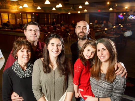 Katie and Jim Lacona, their daughter Olivia Lacona, son Robert Caldwell and girlfriend Natalie Hall and their daughter Ava Caldwell, 5, at Mama Lacona's Thursday, Jan. 25, 2018.