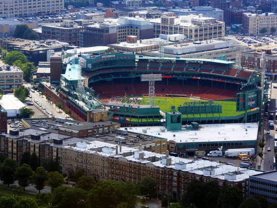 Fenway Park, home of the Boston Red Sox, as seen from the 50th-floor Skywalk of the Prudential Tower.