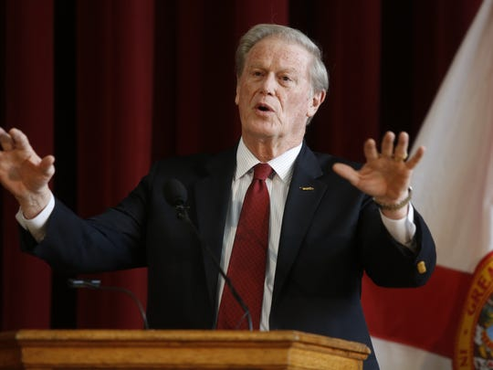 Florida State University President John Thrasher announced that the administration would be partially lifting a ban on Greek Life at FSU during a news conference at the Westcott Building Monday. Fraternities and sororities will now be allowed to engage in recruiting and philanthropic activities while the ban on socials and alcohol remain in place.