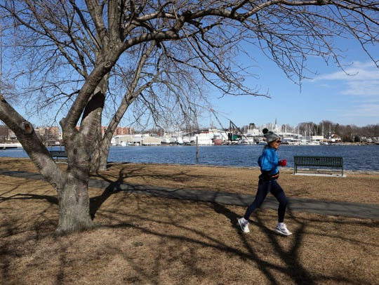 A jogger at Harbor Island Park Jan. 29, 2018. The Village