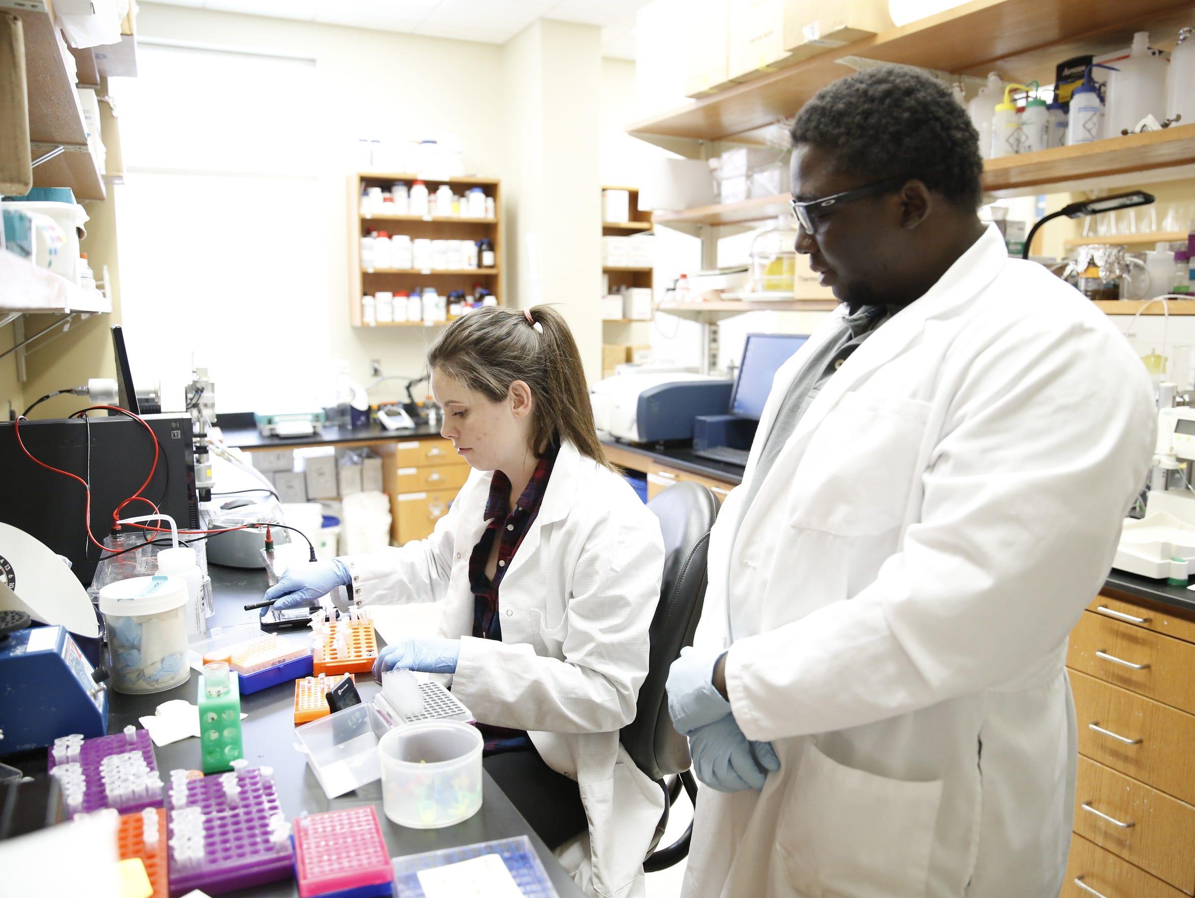 Junior biology major Joslyn Schipper, left, and research