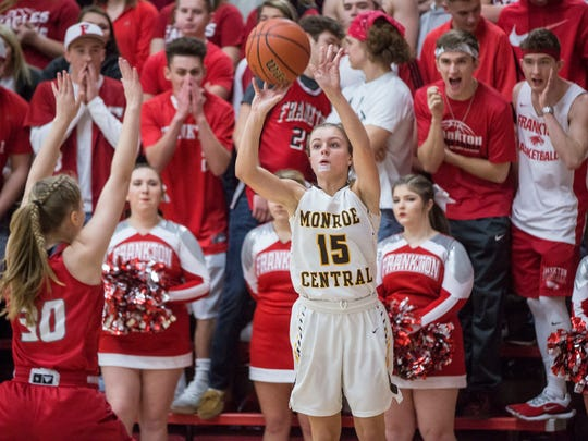 FILE -- Monroe Central's Hannah Bolton shoots during the Golden Bears sectional championship game against Frankton in 2018.