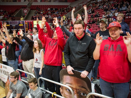 Ball State fans cheer during the game against Akron