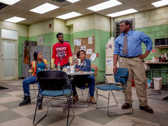 """AnJi White, Bernard Gilbert, Jacqueline Williams and Kevin Roston Jr. wrestle with unhappy news at their auto plant in """"Skeleton Crew."""""""
