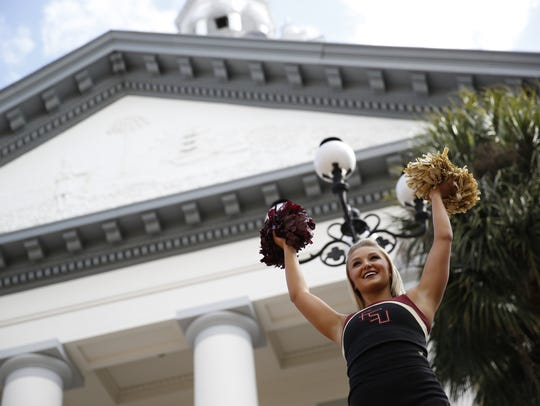 Florida State Cheerleader Jenna Sypula during FSU Day festivities at the Capitol Tuesday.