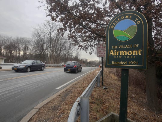 A welcome sign on Spook Rock Road in Airmont, N.Y.