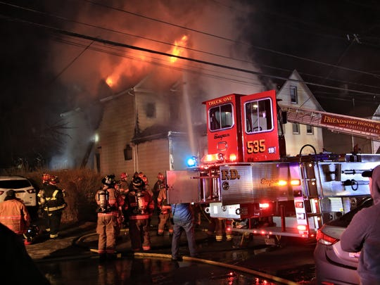 Fire broke out early Wednesday morning at this Brinkerhoff Street home in Ridgefield Park.