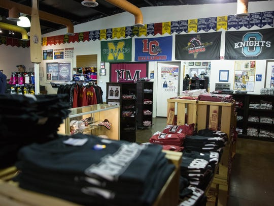 Sports Accessories sells team merchandise from NMSU and all the local high schools.