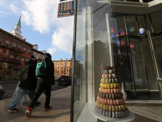 Thursday, Feb. 8, 2018: A tower of macarons are on