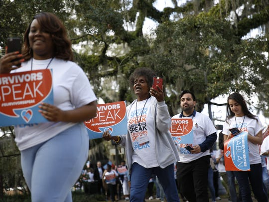 Survivors of crime from across the state of Florida gathered for a procession from Trinity United Methodist Church to the Capitol Tuesday as part of the inaugural ÒSurvivors Speak FloridaÓ event hosted by Florida Crime Survivors network.