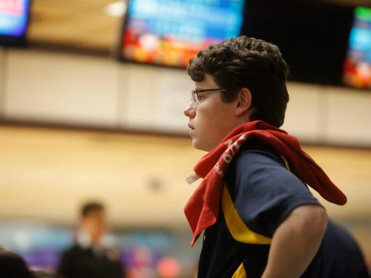 Walter Panas' Nick Perrone at the Section 1 Bowling tournament at the Fishkill Bowl in Fishkill on Feb. 13, 2018.