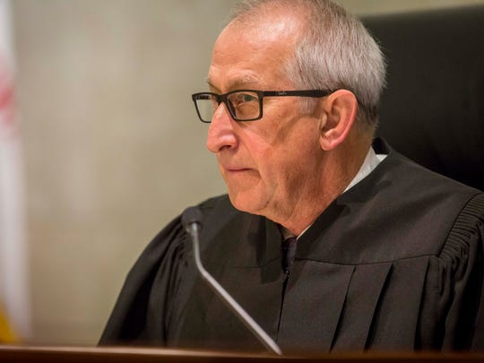Justice Bruce B. Zager listens to lawyers during oral arguments at the Iowa Supreme Court Wednesday, Feb. 14, 2018.