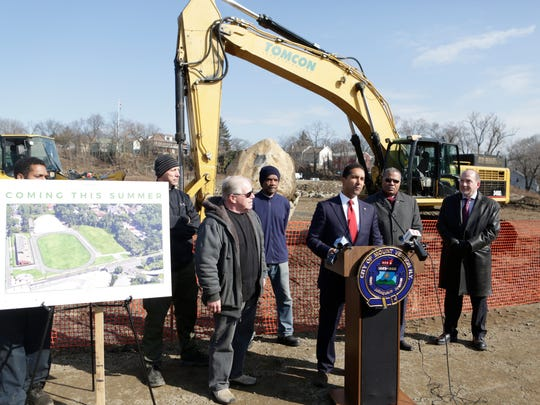 Mount Vernon Mayor Richard Thomas at a Feb. 14, 2018, news conference announces plans to open up parts of Memorial Field for the summer of 2018.