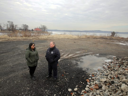 Haverstraw Mayor Mike Kohut and Deputy Mayor Emily Dominguez stand on the property of the former Empire Chair Factory Feb. 14, 2018, where they talked about the plans for the village to create a mixed use development for the site. The approximately 10 acre site has been vacant for several decades.