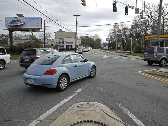 The midtown five-points intersection, pictured last month. At a recent CRTPA meeting, the board killed an idea to replace the current intersection with a roundabout.