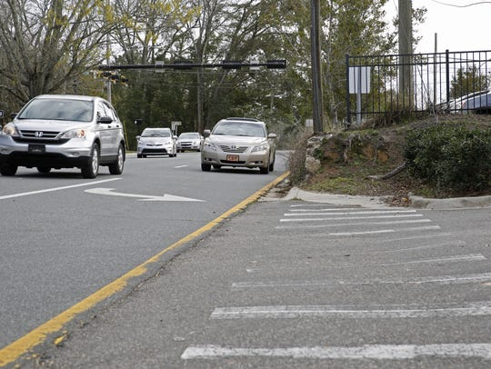 At a recent CRTPA meeting, the board discussed several proposals to improve pedestrian safety in the midtown area, including constructing sidewalks to fill in current gaps such as this one on the west side of Gadsden Street.