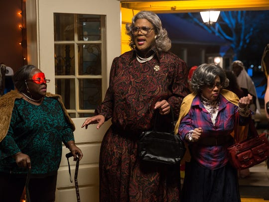 "Cassi Davis, left, Tyler Perry and Patrice Lovely in Tyler Perry's ""Boo! A Madea Halloween."""