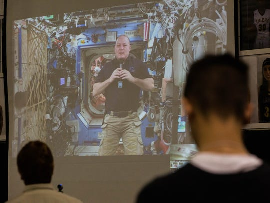 Scott Tingle, a NASA astronaut answered questions from students at Alamogordo High School via downlink from the International Space Station, Wednesday Feb. 21, 2018.