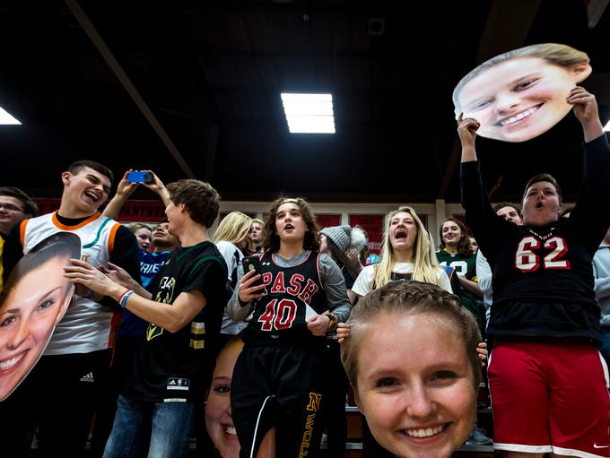 SPASH students cheer for their team before the girl's