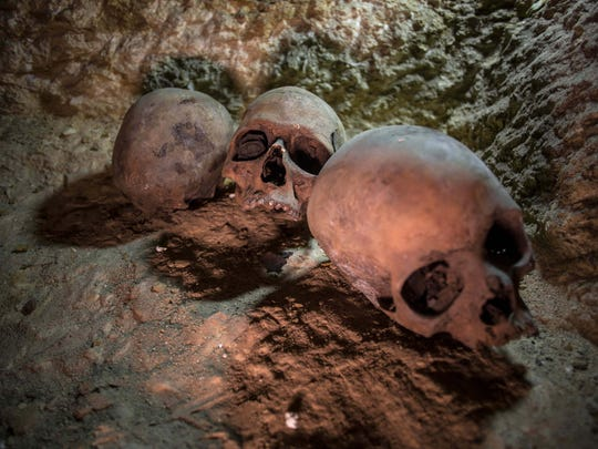 Skulls are seen at a recently found ancient Egyptian