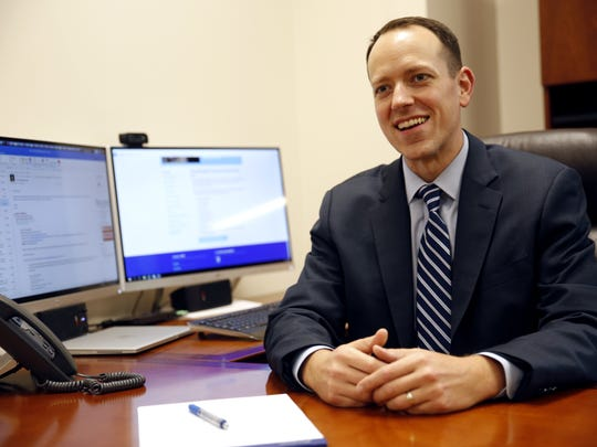 Capital Regional Medical Center's new CEO Alan Keesee poses at his desk Tuesday. Keesee returned to CRMC, where he worked from 2013-2015 as Chief Operating Officer, after a stint in Las Vegas, Nevada as COO of Sunrise Hospital and Medical Center & Sunrise Children's Hospital.