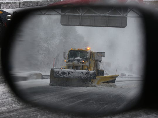 3:26 p.m. A snow plow removes snow on I-287 Eastbound