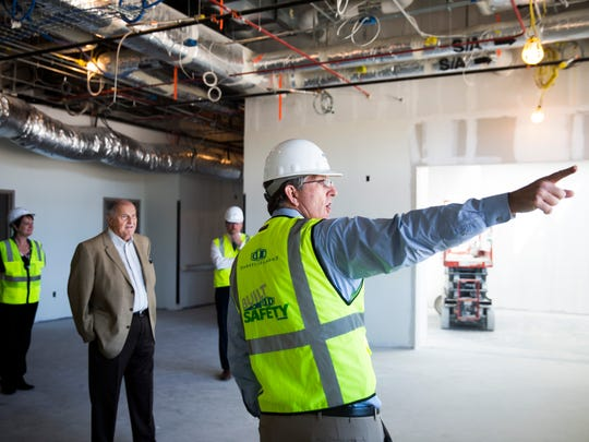Dave Kistel, Lee Health vice president of facilities, explains the areas of the building during a tour of the Lee Health - Coconut Point facility on Friday, March 9, 2018, in Estero.