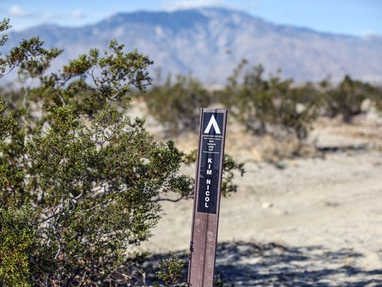 Sign for the 5.6-mile loop Kim Nicol Trail at Desert