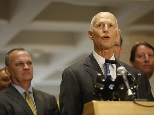Governor Rick Scott makes his remarks in the Capitol