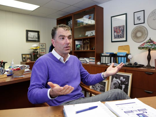 Hen Hud schools Superintendent Joseph Hochreiter in his Montrose office