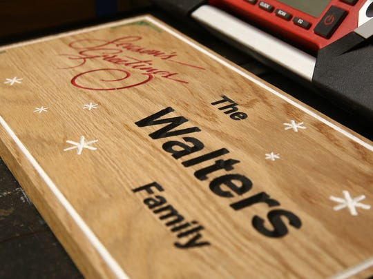 A sign for the holidays made by Charlie Walters  with