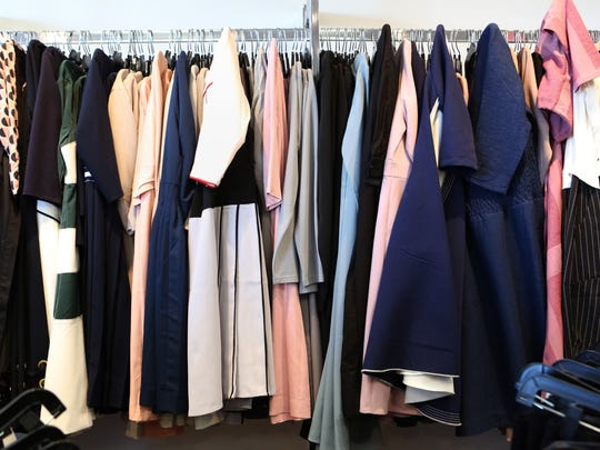 A rack of dresses at Blew Boutique, a shop for contemporary modest style clothing in Monsey, March 18, 2018.