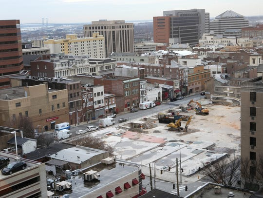 Construction at the new Mid-town Parking Garage on