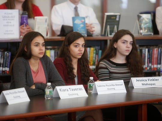 Kiara Taveras and Sabring Piccirillo-Stosser of Ossining High School and Jessica Finkler of Mahopac High School, just a few of the winners of the 2018 Westchester Science and Engineering Fair, listen to a roundtable discussion hosted by Congresswoman Nita Lowey and New York State Lt. Governor Kathy Hochul at Yorktown High School on March 26, 2018.  The roundtable was focused on encouraging women and girls to enter STEM fields.