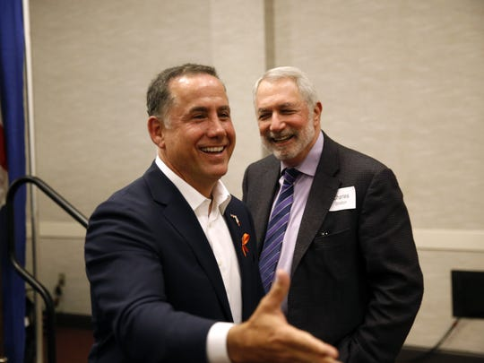 Former Miami Beach Mayor and Democratic gubernatorial candidate Philip Levine brought his campaign to the Tiger Bay Club at the Tucker Civic Center.