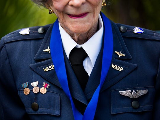 "Bernice ""Bee"" Haydu, 97, dons her uniform from her"