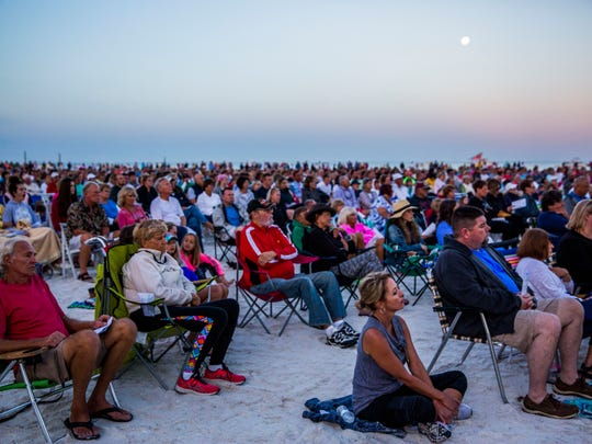 A large crowd attends the 30th annual Easter sunrise service along the beach on Marco Island on Sunday, April 1, 2018.