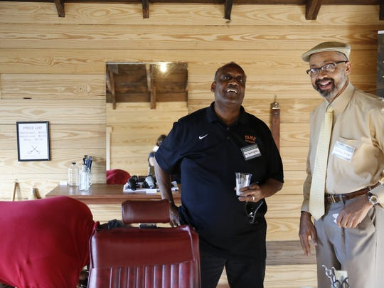 Blueprint Intergovernmental Agency held a grand opening for the Smokey Hollow Barber Shop at the Smokey Hollow Commemoration in Cascades Park Monday, April 2, 2018.
