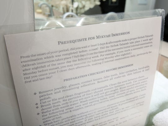 A checklist for mikvah immersion in the preparation