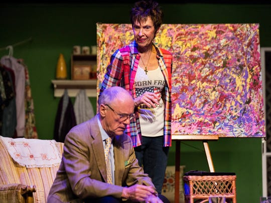Casey Cobb, top center, as unemployed bartender Maude Gutman, and David Whalley, as art expert Lionel Percy, rehearse a scene for The Studio Player's upcoming performance of Bakersfield Mist at the Joan Jenks Auditorium in the Golden Gate Community Center in Naples on Monday, April 9, 2018.The Studio Players, its producers, presents one of eight theater series in Collier County.