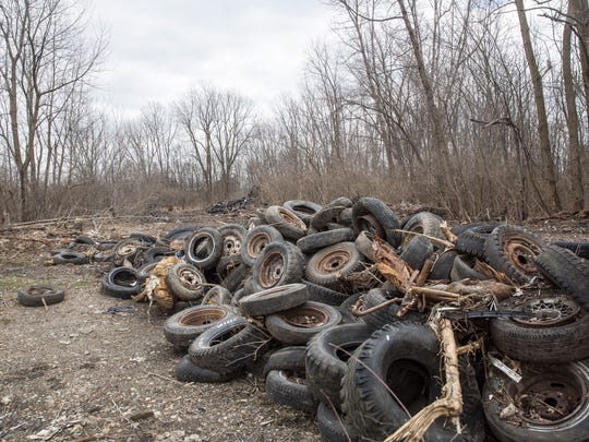 Tires still remain at the site of a former auto salvage yard behind the new Fresh Thyme grocery store. IDEM estimates that as many as 40,000 tires remain at the partially wooded site at 3100 N. Buckles St.
