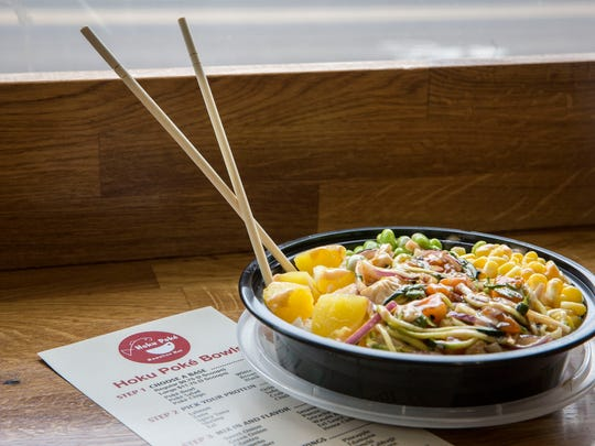 One of a variety of rice bowls available at Hoku Poke