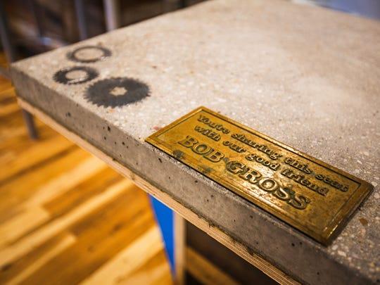A brass plaque honoring Bob Gross will eventually be