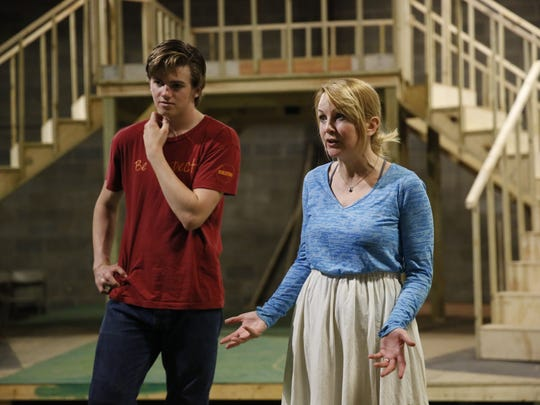 Renee O'Connor, right, and her son Miles Muir refine their characters during rehearsals Wednesday, April 18, 2018 for the Southern Shakespeare Company's upcoming production of Romeo & Juliet.