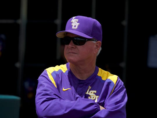 LSU Tigers head coach Paul Mainieri looks out from