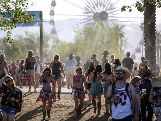 Apr 27, 2018; Indio, CA, USA; Country music fans attend