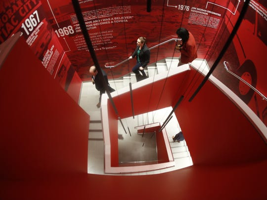 The three-story stairwell in FSU's new Jim Moran Building, pictured at Tuesday's ribbon cutting, features a timeline of Jim Moran's life.