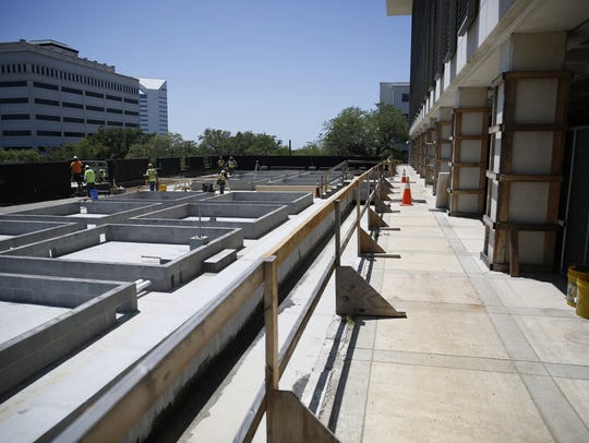 Repairs continue on the Senate parking garage at the