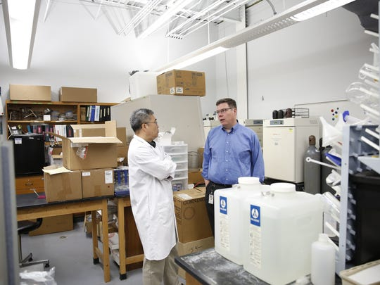Teng Ma, chair of the Department of Biomedical Engineering at FSU, left, talks with his research partner Samuel Grant, an associate professor of chemical and biomedical engineering, in his lab at FSU's College of Engineering Tuesday, April 24, 2018. Ma and Grant working together to investigate the use of cell therapy as a stroke treatment.